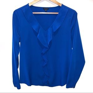 Ann Taylor Ruffle Front Long Sleeve Royal Blue Top